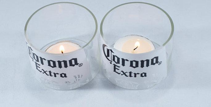 Tea Light Set~with up-cycled Corona beer bottle