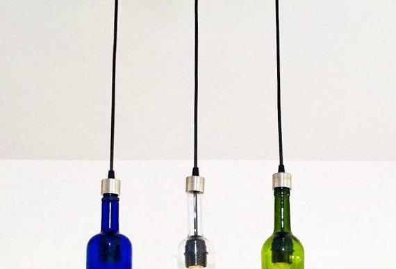 Tri Colour Wine Bottle Industrial Light Fixture | Strip Pendant Chandelier