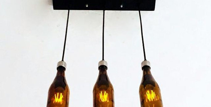 Repurposed Amber Brown Beer Bottle Cut Chandelier | Lights for kitchen & bar