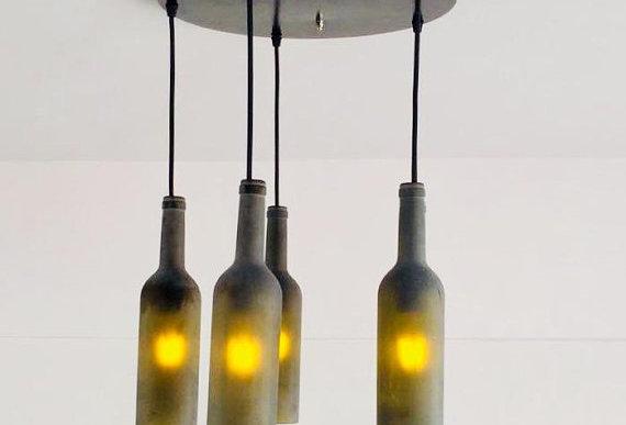Frosted Olive Wine bottle Industrial Pendant Light Chandelier | Custom Made
