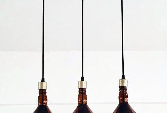 Repurposed Amber Brown Whiskey Bottle Cut Chandelier | Lights for kitchen & bar