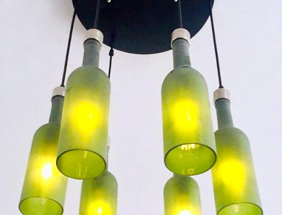Frosted Green Wine Bottle Lights Chandelier | Light Fixture Made from 6 Bottles