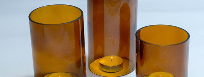 Amber Beer Bottle Tea Light Hurricane Candle Cover Trio Set