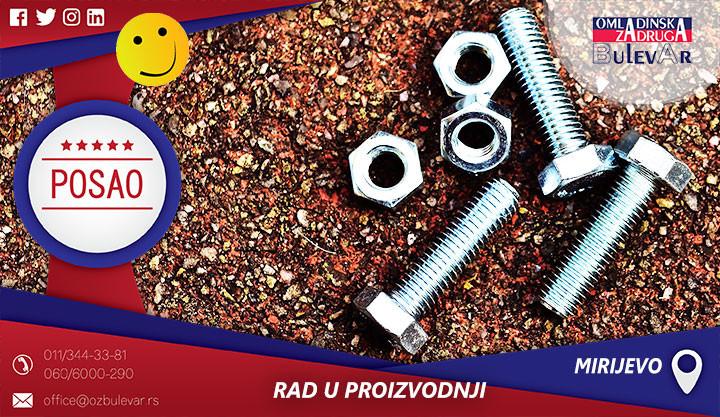 Oglas za posao, Zarkovo, poslovi Žarkovo, proizvodnja