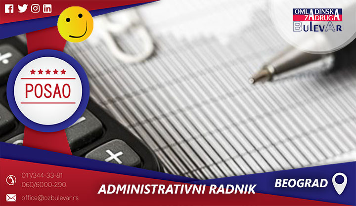 Administrativni radnik, Vracar, zadruga, poslovi Vracar, administracija