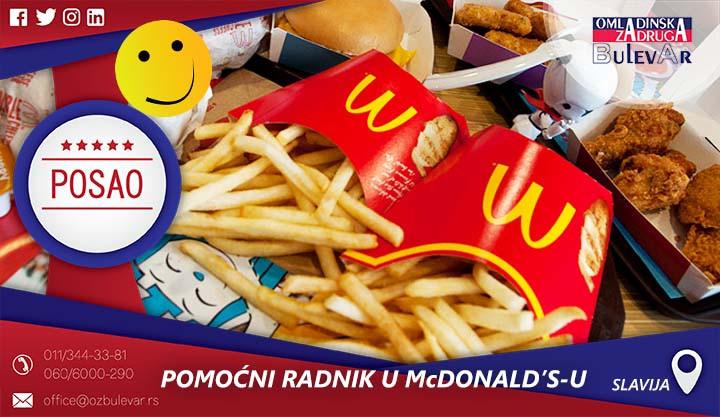 Poslovi preko omladinske zadruge, Omladinska zadruga, Studentska, McDonalds,Mek, McDonald's,Kuhinja