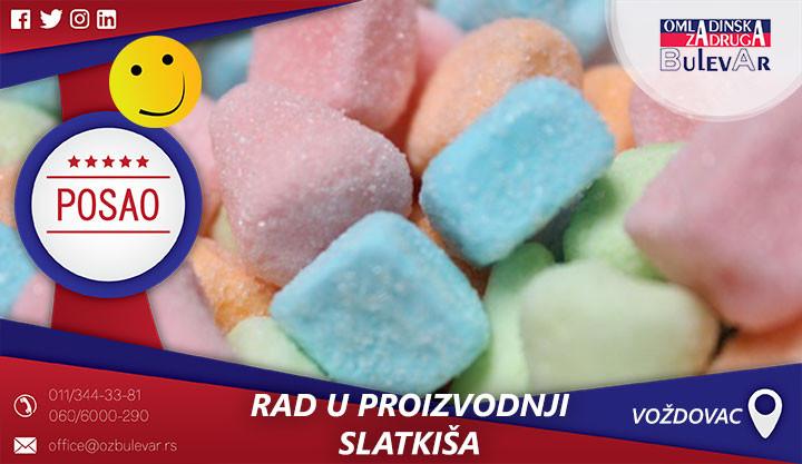 Poslovi preko omladinske zadruge, Omladinska zadruga, poslovi, rad u proizvodnji slatkiša
