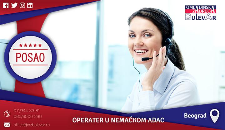 Beograd, Poslovi preko omladinske zadruge, Omladinska zadruga, Operater, nemački ADAC, call centar