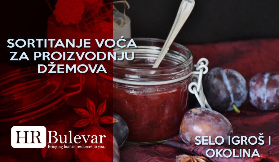 Pomoćni radnici u kuhinji, Beograd, HR Bulevar, Sortiranje voća za proizvodnju džemova, Igroš