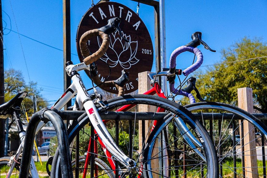 Cyclist always find downtown parking at Tantra