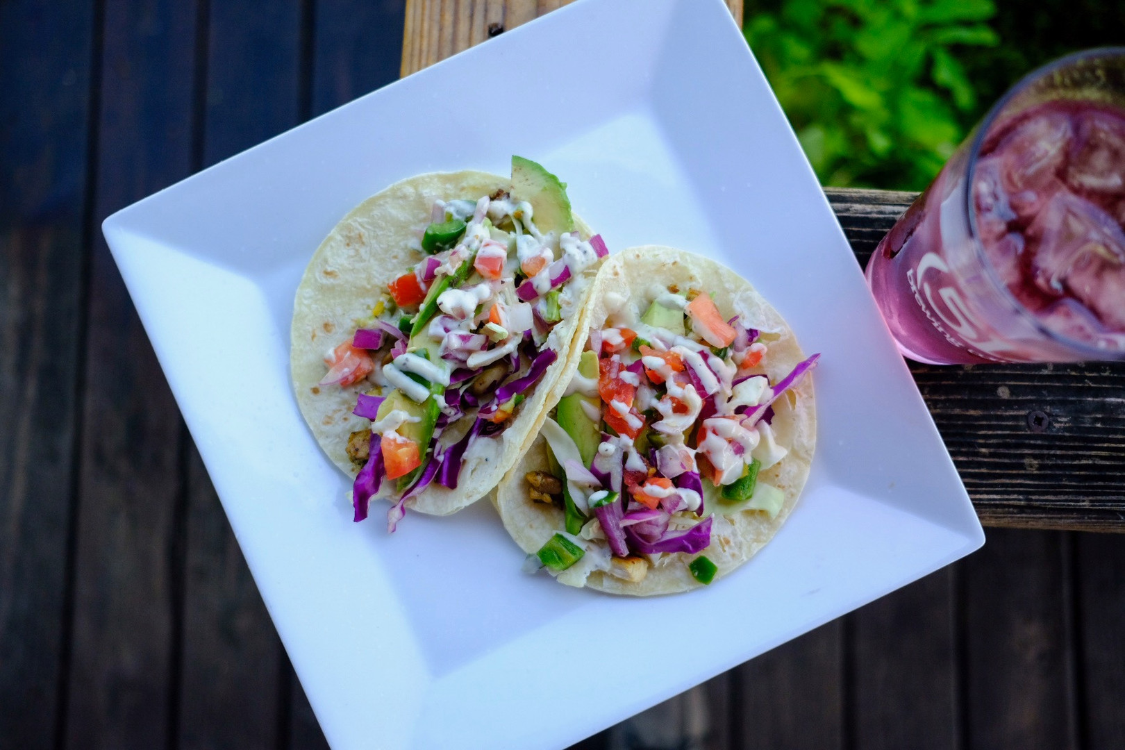 Pollo Limon tacos with Hisbiscus Mint tea