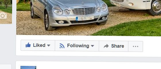 where to click the like and follow buttons on Facebook