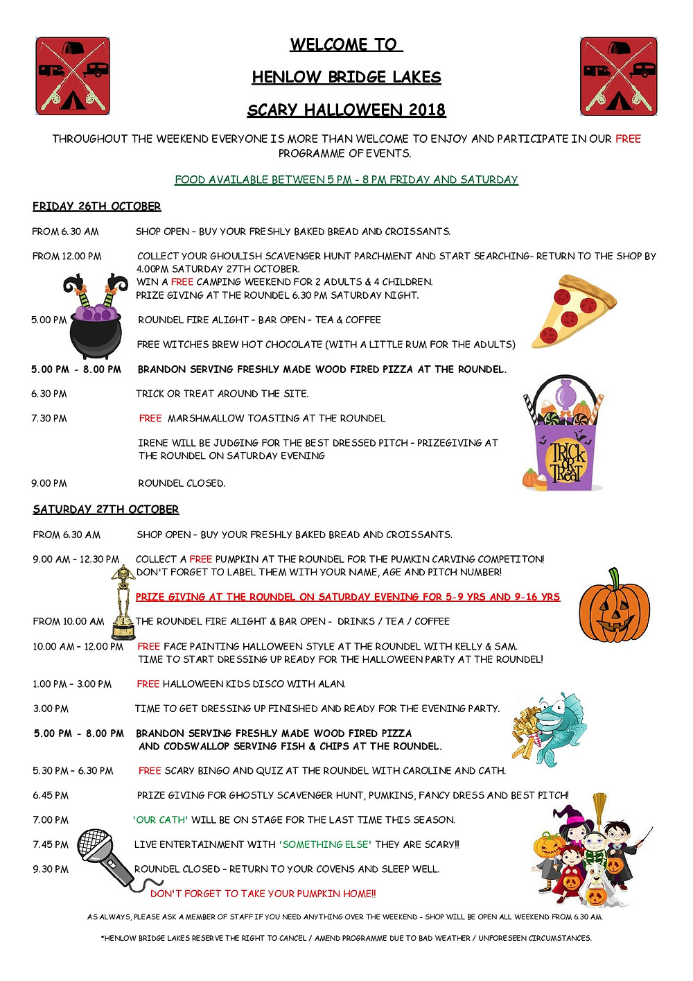 Halloween itinerary for henlow bridge lakes October 2018