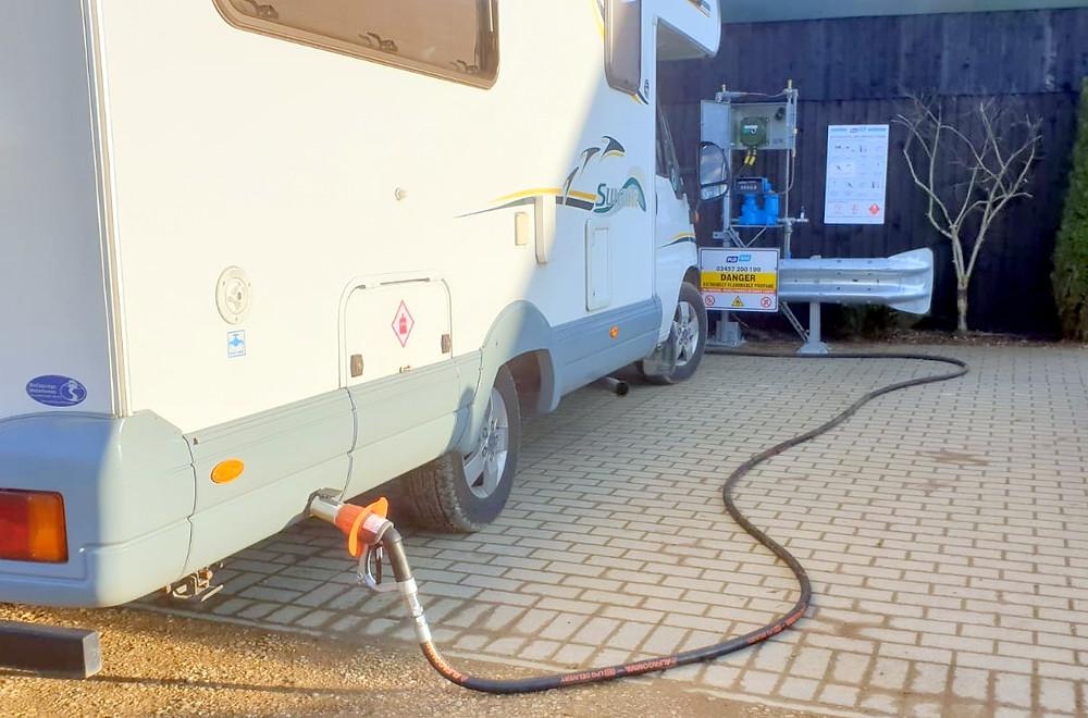 Autogas LPG filling point on Henlow Bridge Lakes Campsite, Bedfordshire.