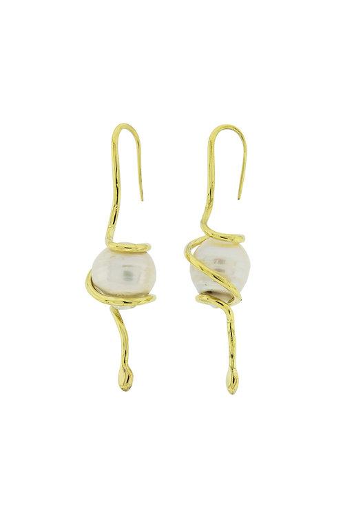 Snake Pearl Earrings