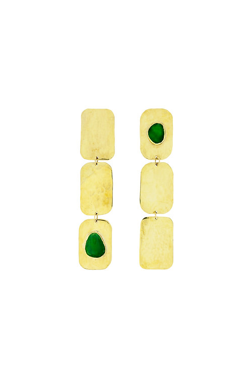 Green Onix three saquare earrings