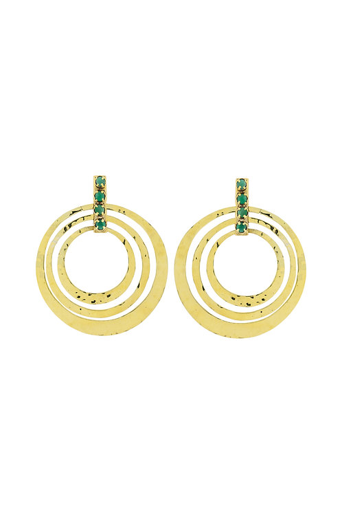 Circle Emerald Earrings