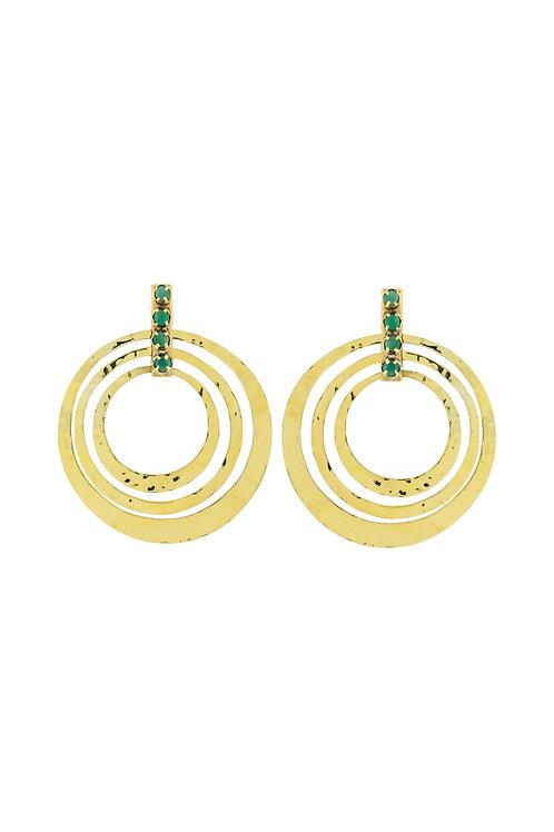 Circle Emerald Earrings