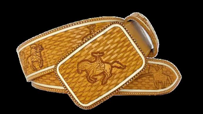 Cinto de Pita tipo Cordón y Cincelado de Suertes Charras