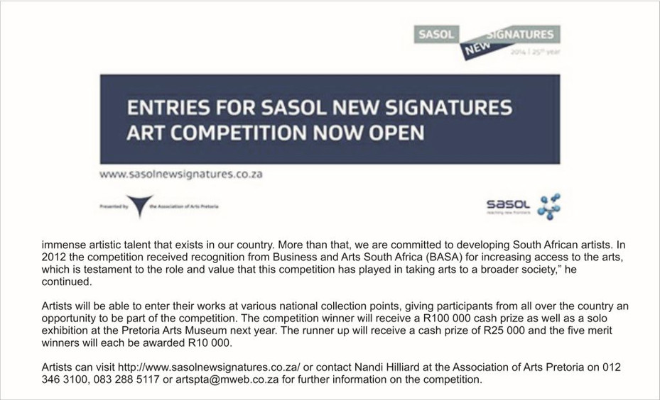 Sasol New Signatures Art Competition now open