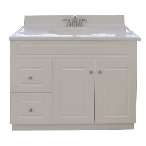 Two Door Two Drawer Square Vanity - White - VW006-940