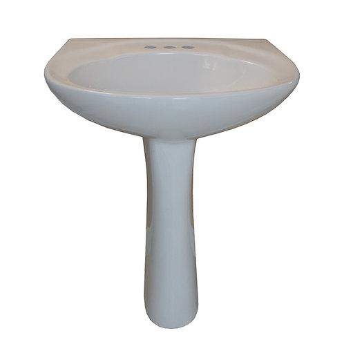 White Pedestal Sink - LP6624