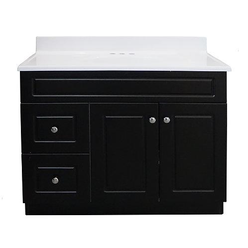 Two Door Two Drawer Square Vanity - Black- VDC006-940