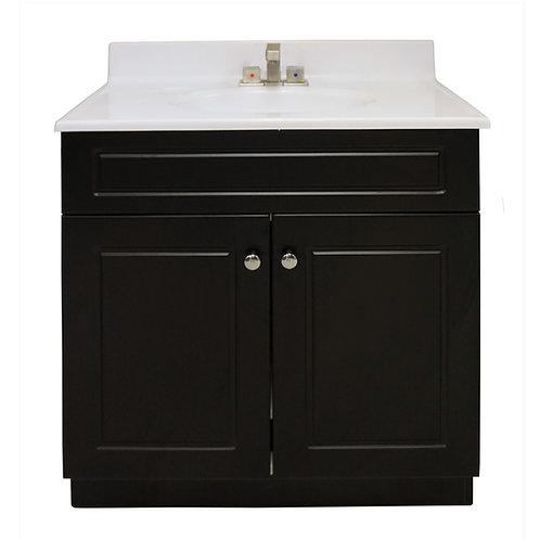 "Two Door Square Vanity - Black - 25"" - VDC004-635"