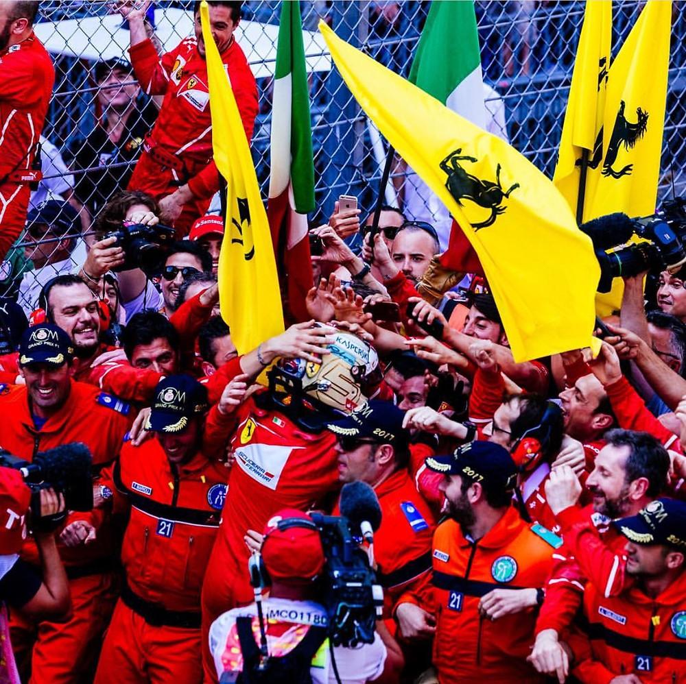Ferrari celebrate win in Monaco