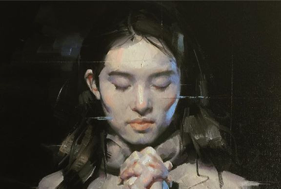 _The Prayer_, Oil on canvas, 16_36inches