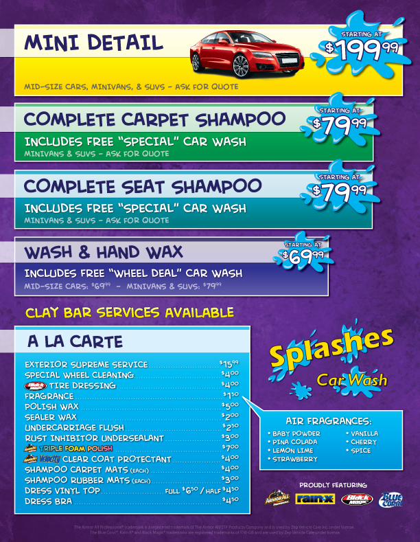 Splashes Car Wash | Services | Car Wash & Auto Detailing