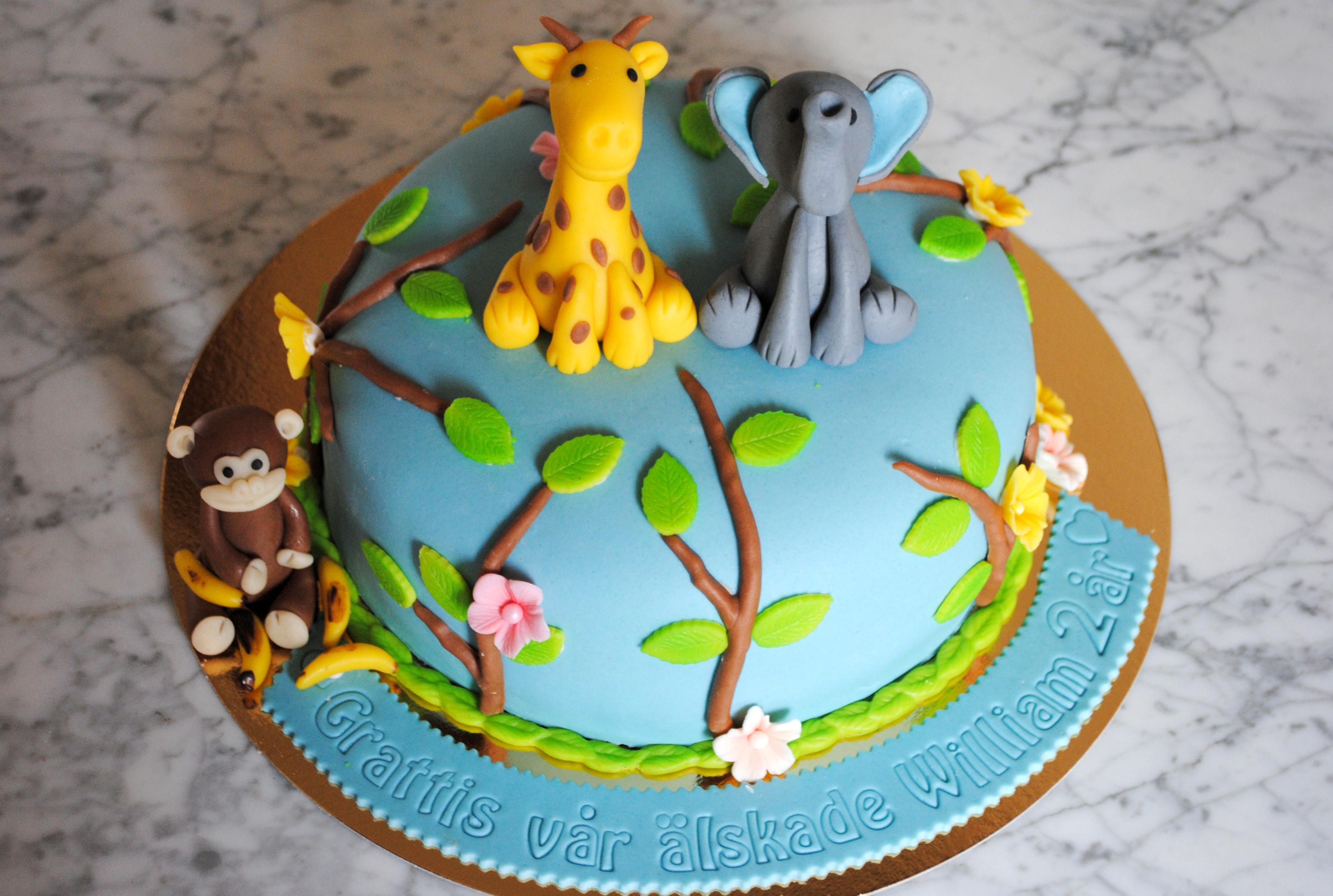 Djurtårta (apa, giraff, elefant)