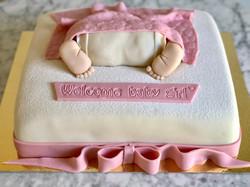 Tårta med blöja och fötter ROSA