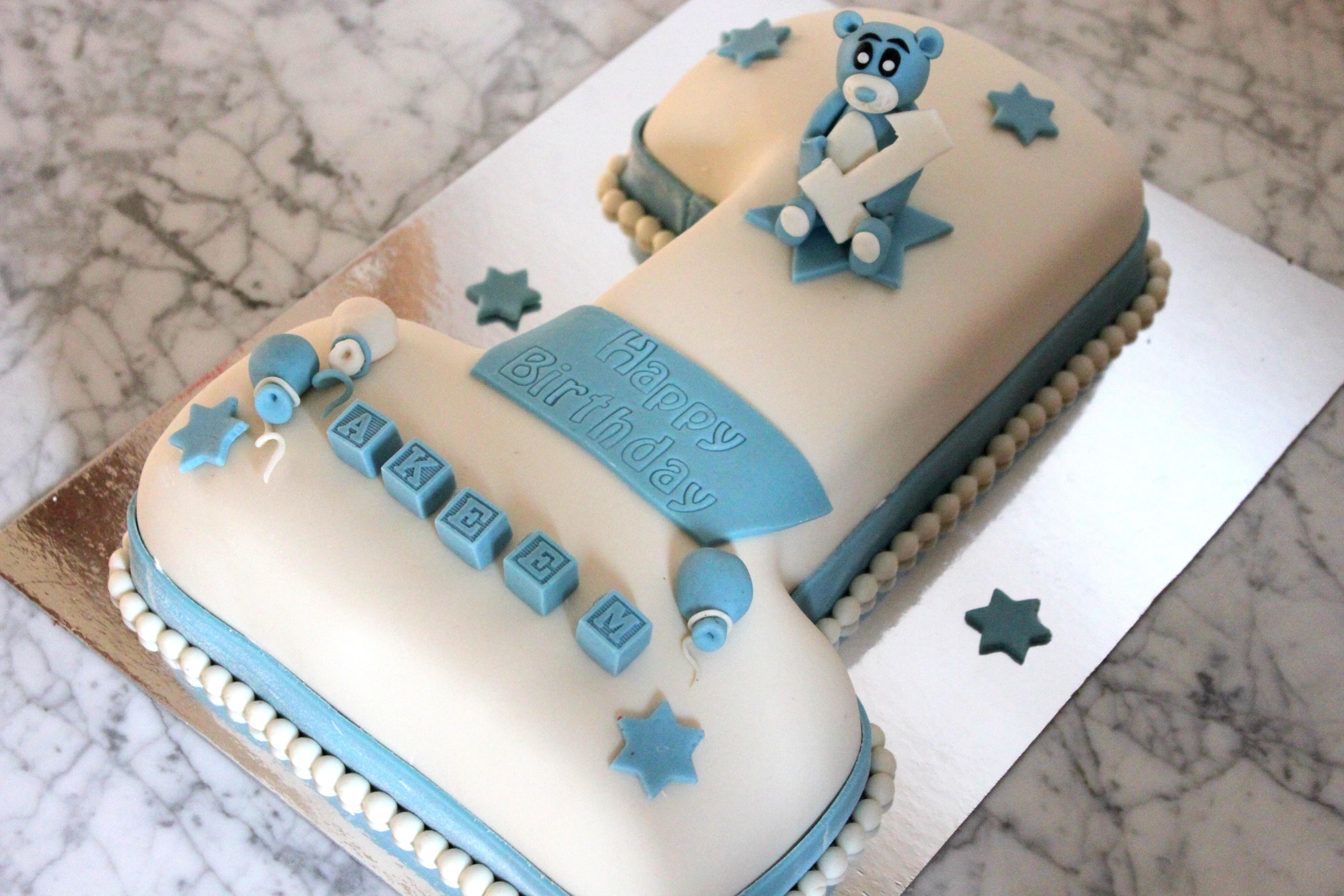 1-års tårta - Blå nalle