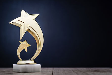Elegant gold winners trophy with shootin