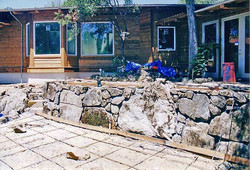 stone wall, patio in process