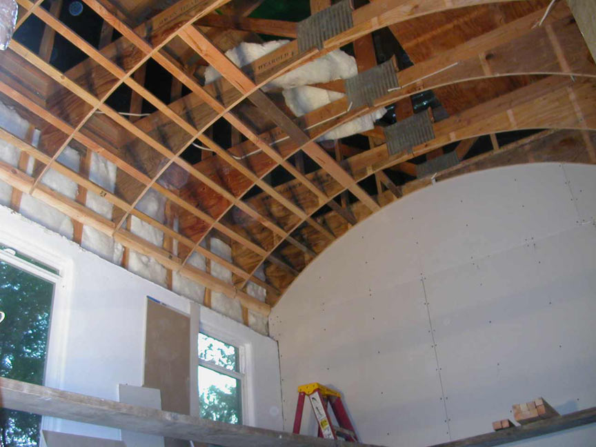 vaulted ceiling remodel in process