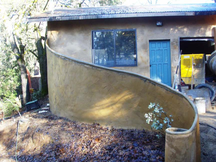 Curved ferrocement wall