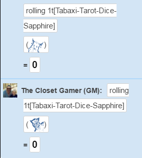 Tabaxi Tarot Dice in Roll20
