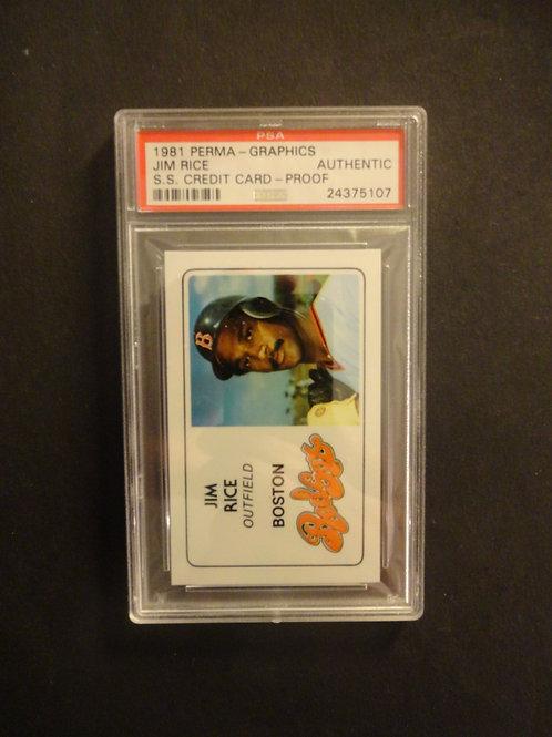 1981 Perma-Graphics Super Star Credit Card Proof Jim Rice PSA Authentic