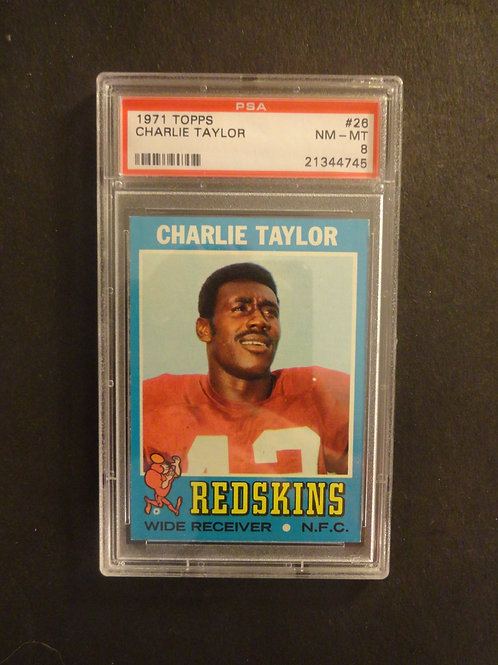 1971 Topps #26 Charlie Taylor PSA 8