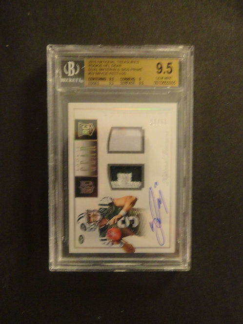 2015 National Treasures Bryce Petty RC Auto Gear Patch #/25 BGS 9