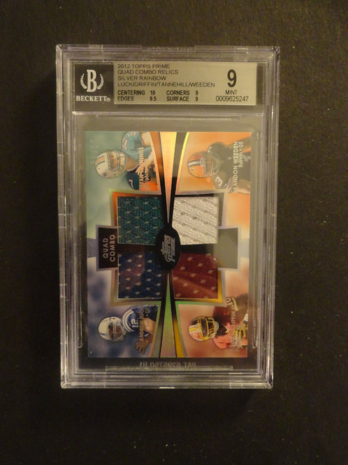 2012 Topps Prime Quad Jersey Luck / Griffin / Tannehill / Weeden #1/10 BGS 9