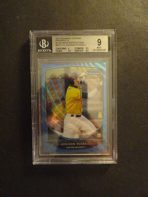 2013 Bowman Chrome Addison Russell Blue Wave Refractor RC BGS 9
