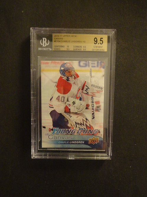 2016 Upper Deck Canvas Charlie Lindgren Young Guns RC BGS 9.5