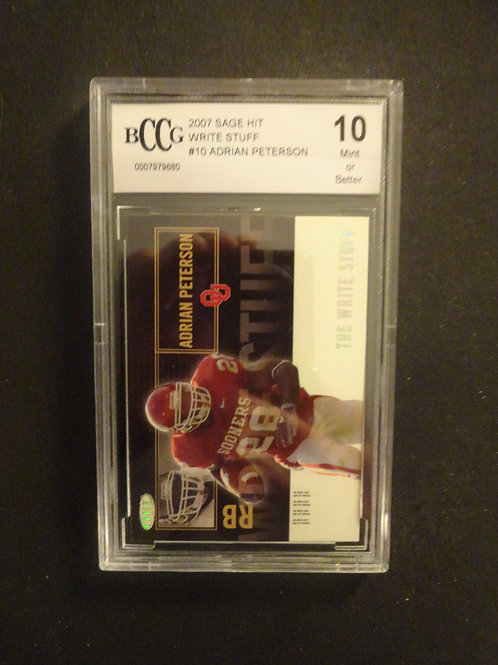2007 Sage Hit Adrian Peterson Write Stuff RC BCCG 10