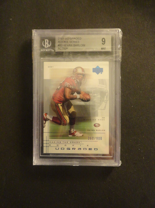 2001 UD Graded Kevin Barlow Action RC #/900 BGS 9