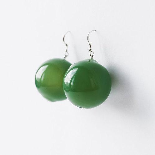 Серьги мутно зелёное стекло