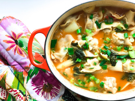 Thai Red Curry Broth with Turkey Wontons