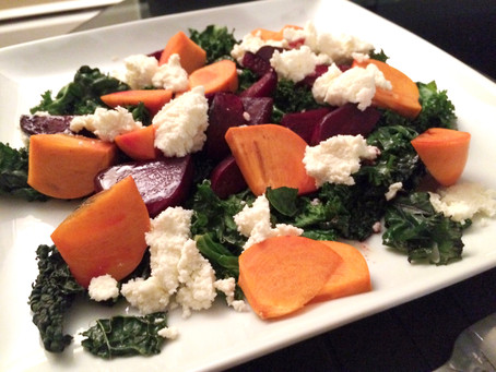 Warm Kale & Beet Salad with Persimmon